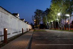 Orthodox temple buildings. Parking next to orthodox temple complex. Architectural lighting Royalty Free Stock Images