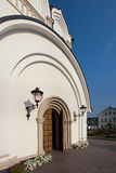 Orthodox temple buildings. The portal of the Church. The porch of the temple. The lights above the entrance Royalty Free Stock Photo