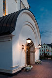 Orthodox temple buildings. The portal of the Church. The porch of the temple. The lights above the entrance Stock Photo