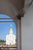 Orthodox temple buildings. View of the Orthodox Church from the bell tower. A fragment of the bell tower Royalty Free Stock Photography