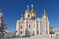 Orthodox temple with golden domes Stock Images