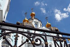Orthodox temple of saint Alexander in Kharkiv Ukraine. Orthodox temple of saint Alexander in city Kharkiv Ukraine. Temple in a bright sunny summer day on a blue Royalty Free Stock Photo
