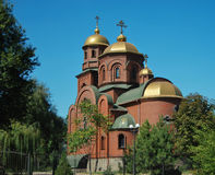 Orthodox tserkov on the background of nature Royalty Free Stock Images
