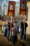 Orthodox vigil at the Church of the Mother of God Joy of All who sorrow in Iznoskovsky district of Kaluga region (Russia) Novemb Stock Images