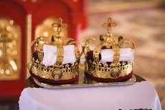 Orthodox wedding accessories including two crowns.  Royalty Free Stock Images