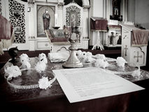 Orthodox wedding. Altar of an Orthodox wedding Royalty Free Stock Photo