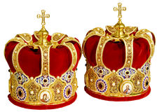 Orthodox Wedding Ceremonial Crowns. Two Orthodox Wedding Ceremonial Crowns Ready for Ceremony Stock Photography