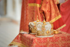 Orthodox Wedding Ceremonial Crowns Stock Images