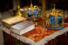 Orthodox Wedding Ceremonial. Two Orthodox Wedding Ceremonial Crowns Ready for Ceremony royalty free stock photo