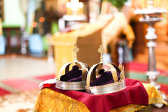 Orthodox wedding ceremony and two golden crown Royalty Free Stock Image