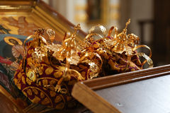 Orthodox wedding crowns, gospel and cross Stock Images