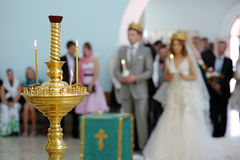 Orthodox wedding service. Orthodox wedding ceremony in a church Stock Images
