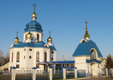 Orthodox white blue Church Stock Images