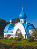 Orthodox white church with blue domes Stock Photography