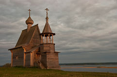 Orthodox wooden chapel. Old orthodox wooden chapel of the Russian North Stock Photo