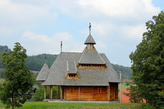 Orthodox wooden church on hill Royalty Free Stock Image