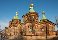 Orthodox wooden church. Old orthodox wooden church in Karakol town Stock Images
