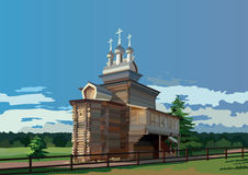 Orthodox wooden church with three domes. On blue sky background Stock Photos