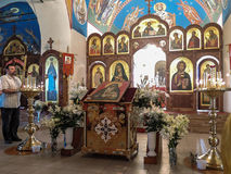 Orthodox worship in the Christian Church in Kaluga region of Russia. Worship in the Russian Orthodox Church takes place every day and includes several types of stock images