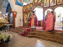 Orthodox worship in the Christian Church in Kaluga region of Russia. Worship in the Russian Orthodox Church takes place every day and includes several types of royalty free stock image