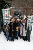 Orthodoxe Christen feiern Epithany Stockfotos
