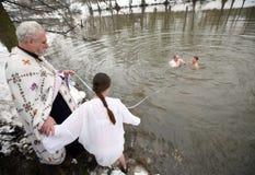 Orthodoxe Christen feiern Epithany Lizenzfreies Stockbild