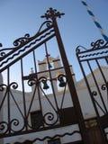 Orthodoxe church santorin. From the street bells of orthodox church Stock Photos