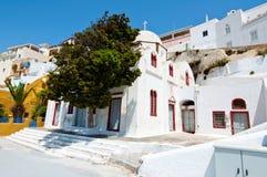 Orthodoxe die kerk in het kapitaal van Thera ook als Santorini, Fira in Griekenland wordt bekend Royalty-vrije Stock Foto's