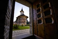 Orthodoxe gemalte Klosterkirche Sucevita Lizenzfreies Stockbild