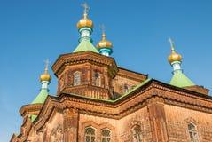 Orthodoxe hölzerne Kirche Stockfoto