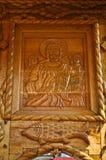 Orthodoxe Ikone schnitzte im Holz Stockfotografie