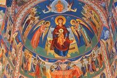Orthodoxe Ikonen in Heilig-Anna--Rohiakloster, aufgestellt in einem natürlichen und lokalisierten Platz, in Maramures, Siebenbürg Lizenzfreie Stockbilder