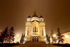 Orthodoxe Kathedrale Klausenburg-Napoca bis zum Nacht lizenzfreies stockbild