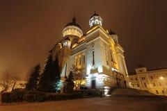Orthodoxe Kathedrale Klausenburg-Napoca bis zum Nacht lizenzfreie stockfotografie