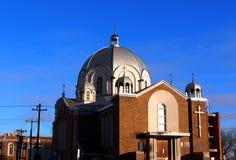 Orthodoxe kerk met koepels Stock Afbeelding
