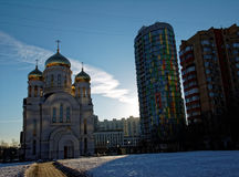 Orthodoxe Kerk in Moskou in de winter Royalty-vrije Stock Fotografie