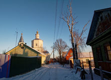 Orthodoxe Kerk in Moskou in de winter Royalty-vrije Stock Foto's