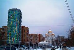 Orthodoxe Kerk in Moskou in de winter Royalty-vrije Stock Afbeeldingen