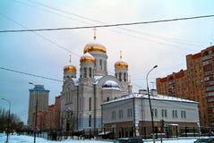 Orthodoxe Kerk in Moskou in de winter Royalty-vrije Stock Foto