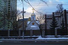 Orthodoxe Kerk in Moskou in de winter Royalty-vrije Stock Afbeelding