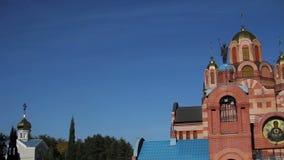 Orthodoxe Kerk in openlucht stock videobeelden