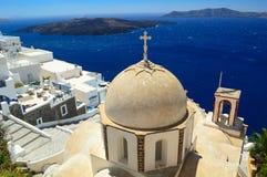 Orthodoxe kerk van St John in Fira, Santorini Stock Foto's