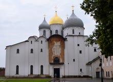 Orthodoxe Kerk van St Sophia in Novgorod het Kremlin in Veliky Novgorod stock foto