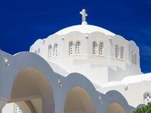 Orthodoxe Metropolitaanse Kathedraal Fira Santorini Griekenland Royalty-vrije Stock Foto's