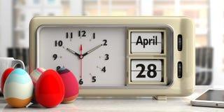 Orthodoxe Pasen, 28 de datum van April 2019 op oude retro wekker, 3d illustratie vector illustratie