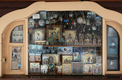 Orthodoxe pictogrammen in een pictogramwinkel Stock Afbeeldingen