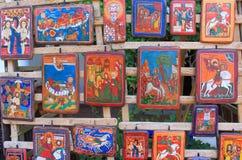 Orthodoxe pictogrammen op hout Stock Afbeeldingen