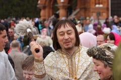Orthodoxe priester tijdens ceremonie Stock Fotografie