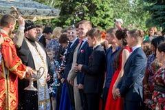 Orthodoxe wijding van leerlingen die school verlaten Stock Fotografie