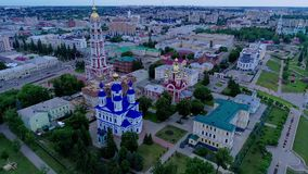 Orthodoxes Kloster mit Glockenturm Aero Videodreh 04 stock video footage